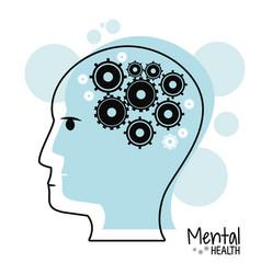 Head profile mental health gears vector