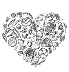 heart floral design with black and white garlic vector image