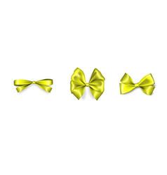 holiday satin gift bow knot ribbon lemon vector image