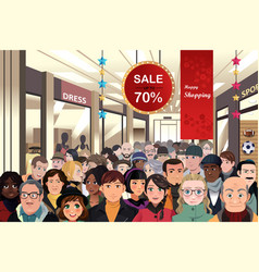 holiday shopping sale scene vector image