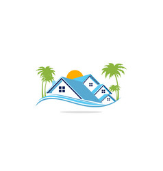 Home realty palm tree residence logo vector