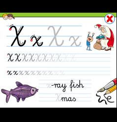 How to write letter x worksheet for kids vector