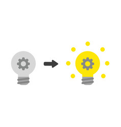 Icon concept of gear inside grey light bulb and vector