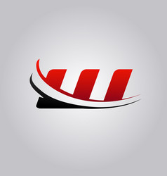 initial w letter logo with swoosh colored red and vector image