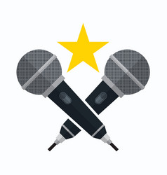 karaoke party theme with microphones vector image