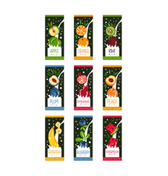 Labels for fruits milk 9 different tastes apple vector
