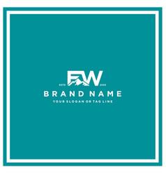Letter fw mountain logo design vector