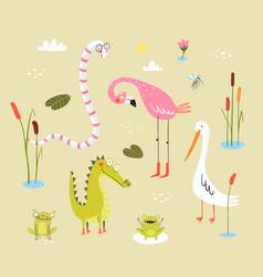 lizard frogs alligators crocodiles and flamingo vector image