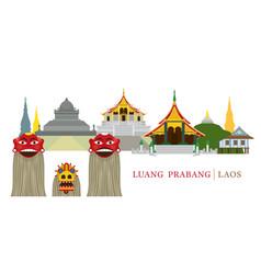 Luang prabang laos landmarks and pou yer ya yer vector