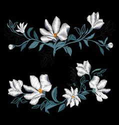 magnolia embroidery vector image