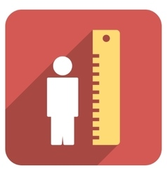 Man Height Meter Flat Rounded Square Icon with vector