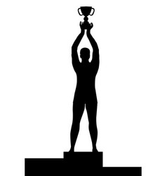 man silhouette on podium holding a championship vector image