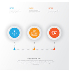 management icons set collection of calling card vector image