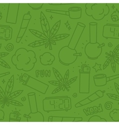 Marijuana weed cartoon seamless pattern vector image