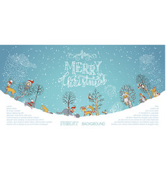 Merry christmas woodland background vector