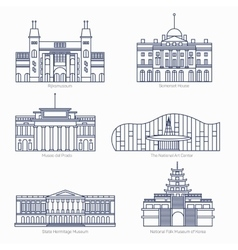 Monuments thin line icons Amsterdam state vector