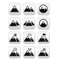 Mountain buttons set vector image