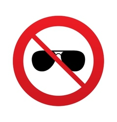 No Aviator sunglasses sign icon Pilot glasses vector