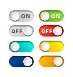 on and off realistic toggle switch buttons on vector image