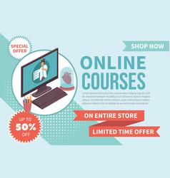 Online courses banner vector