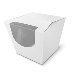 paper box with transparent window on white vector image