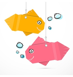 Paper Fish Hang on Strings with Bubbles vector image