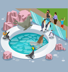 Petting zoo isometric composition vector