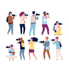 photographer characters professional videography vector image