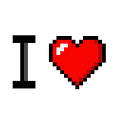 Pixel art heart i love you color icon valentine vector