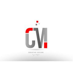 Red grey alphabet letter cm c m logo combination vector