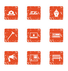 rescue worker icons set grunge style vector image
