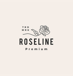 rose continuous line hipster vintage logo icon vector image