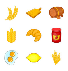 Rye for baking icons set cartoon style vector