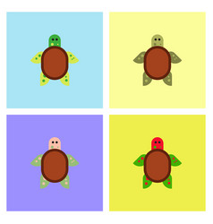 Sea turtle icon set vector