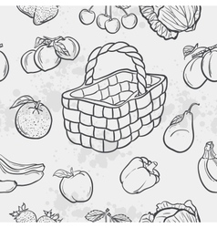 Seamless texture and vegetables fruit and baskets vector image