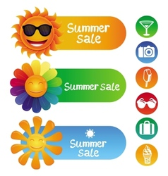 set with summer design elements vector image