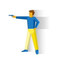 Shooter aiming a pistol man with a gun vector