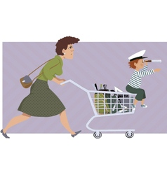 Shopping for school supplies vector image