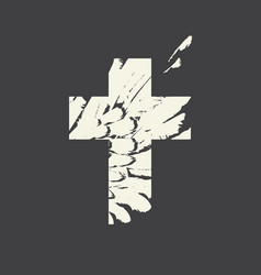 sign christian cross with feathers inside vector image