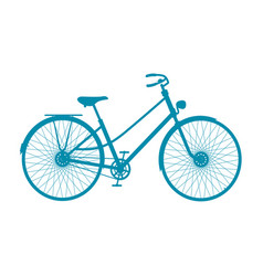 Silhouette of vintage bicycle in blue design vector