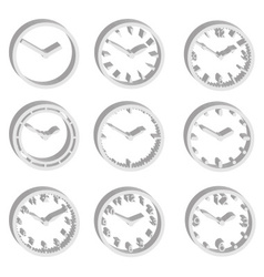 simple watch dials 3d style icons set eps10 vector image