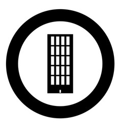 sky tower building black icon in circle isolated vector image