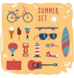Summer mood board Icon set vector image