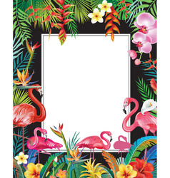Summer party poster with flamingoes and flowers vector