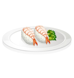 Sushi in a round plate vector image