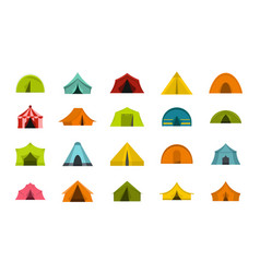 tent icon set flat style vector image