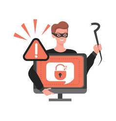 Thief hacking personal data in computer vector
