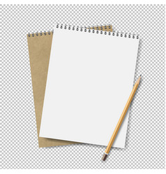 two note books with pensil transparent background vector image