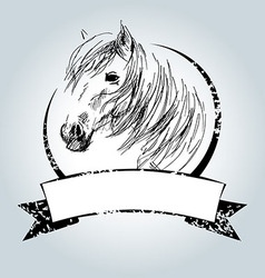 Vintage label with horse head vector
