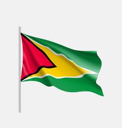 Waving flag of guyana vector